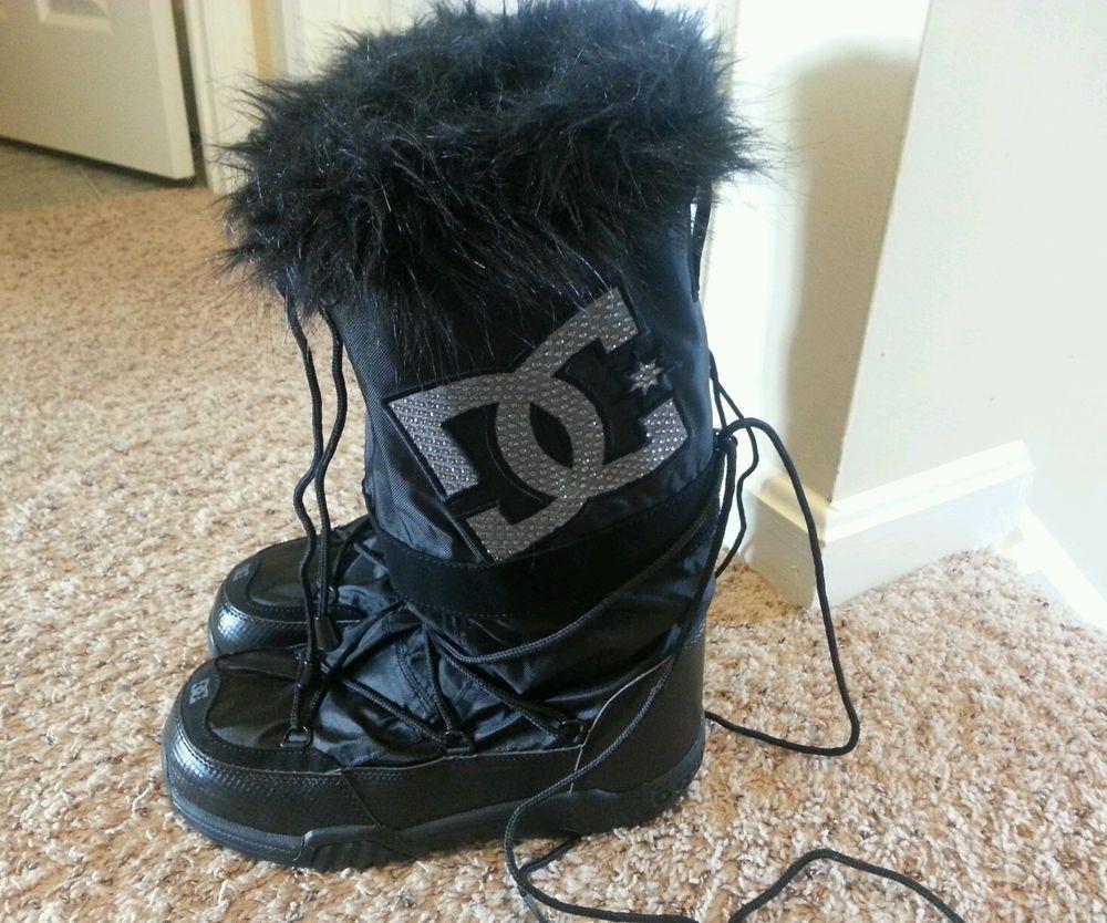 DC Shoes Girl's Women's Chalet Winter Snow Boots Faux Fur Black ...