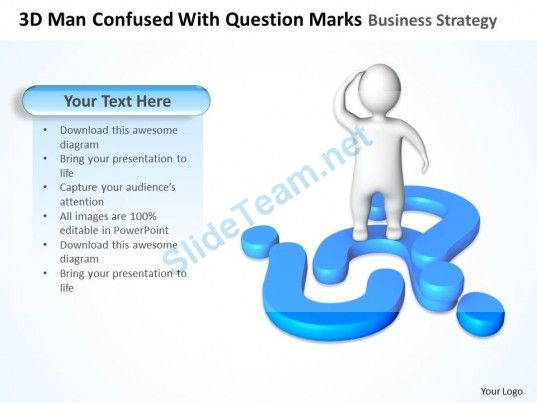 3d man confused with question marks business strategy ppt graphics