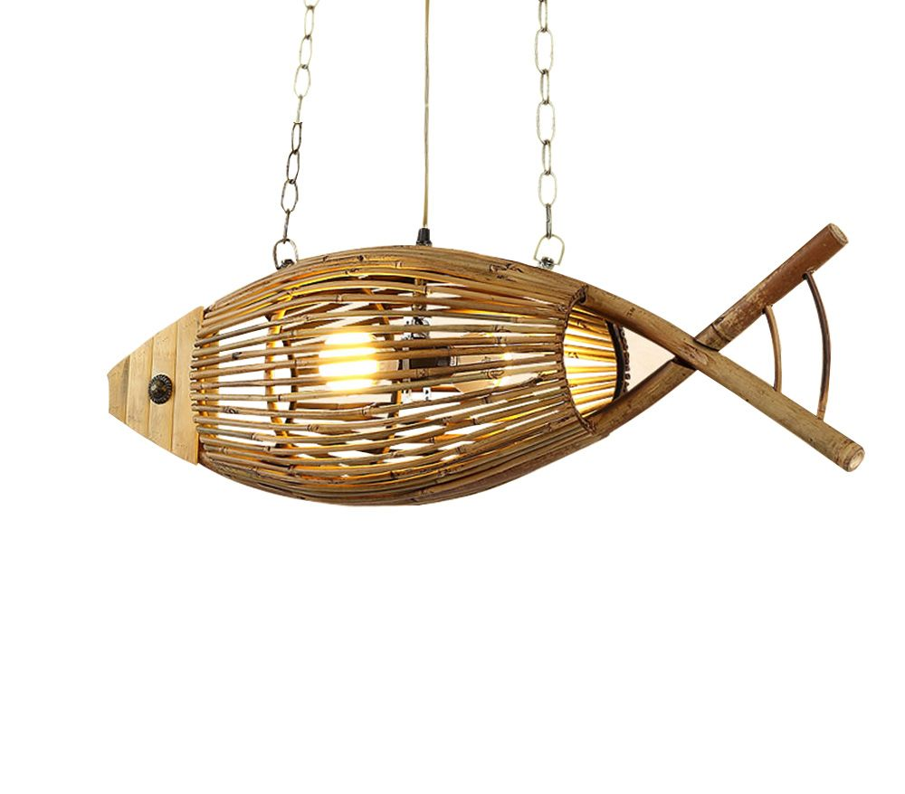 Wood Light Originality Fish Pendant Lamp Restaurant Cafe Bar Hanging Light Personality Bamboo Creative Hand Crafted Weav Hanging Lights Wood Light Pendant Lamp