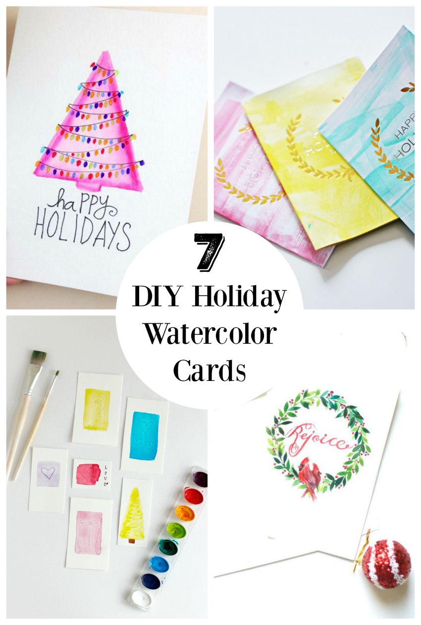 7 Diy Holiday Watercolor Cards To Send Out To Friends Make And Takes Holiday Cards Handmade Trendy Holiday Cards Watercolor Holiday Cards