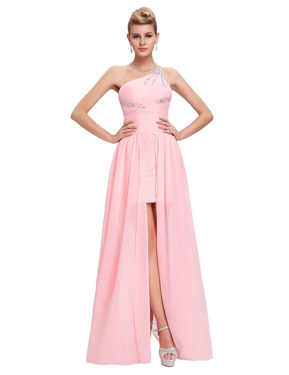 Elegant one shoulder pink short front long back chiffon bridesmaid