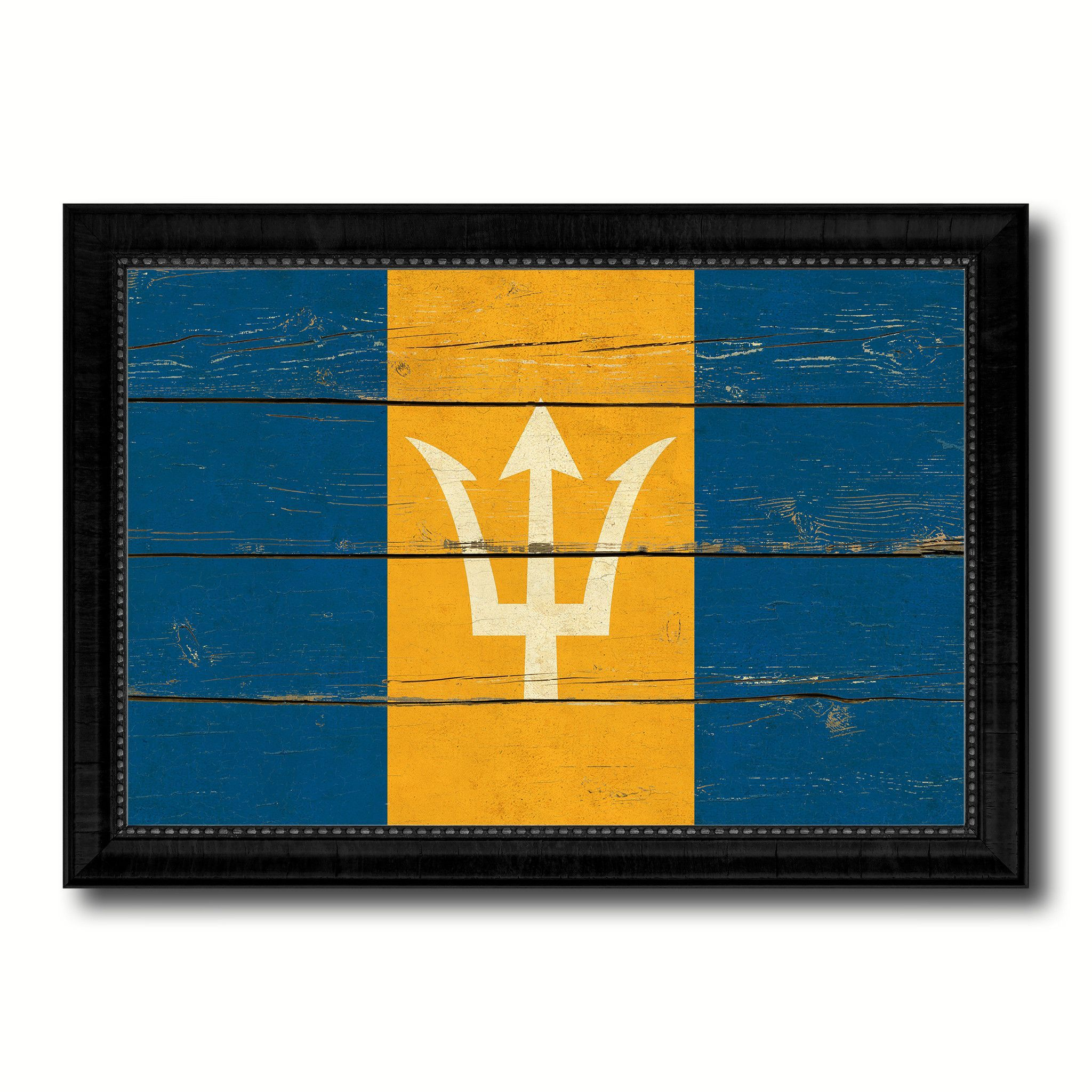 Barbados Country Flag Vintage Canvas Print with Black Picture ...