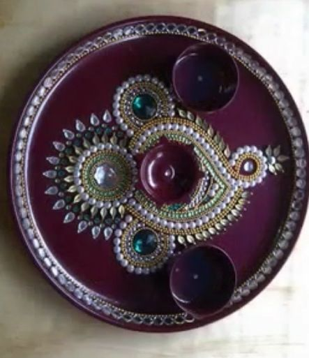 Aarti thali art crafts pinterest diwali for Aarti thali decoration with clay