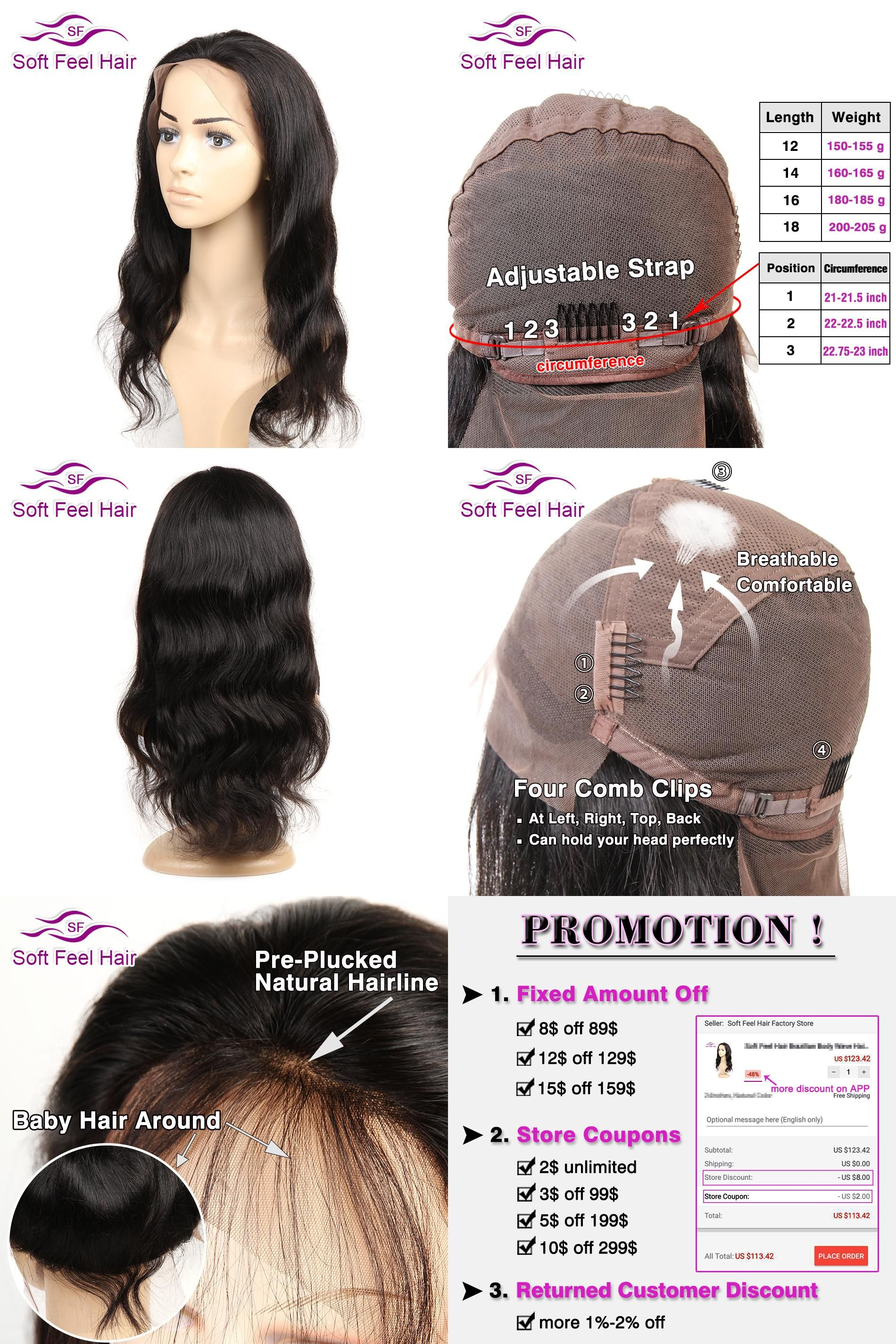 Visit to Buy Soft Feel Hair Pre Plucked Full Lace Human Hair Wigs