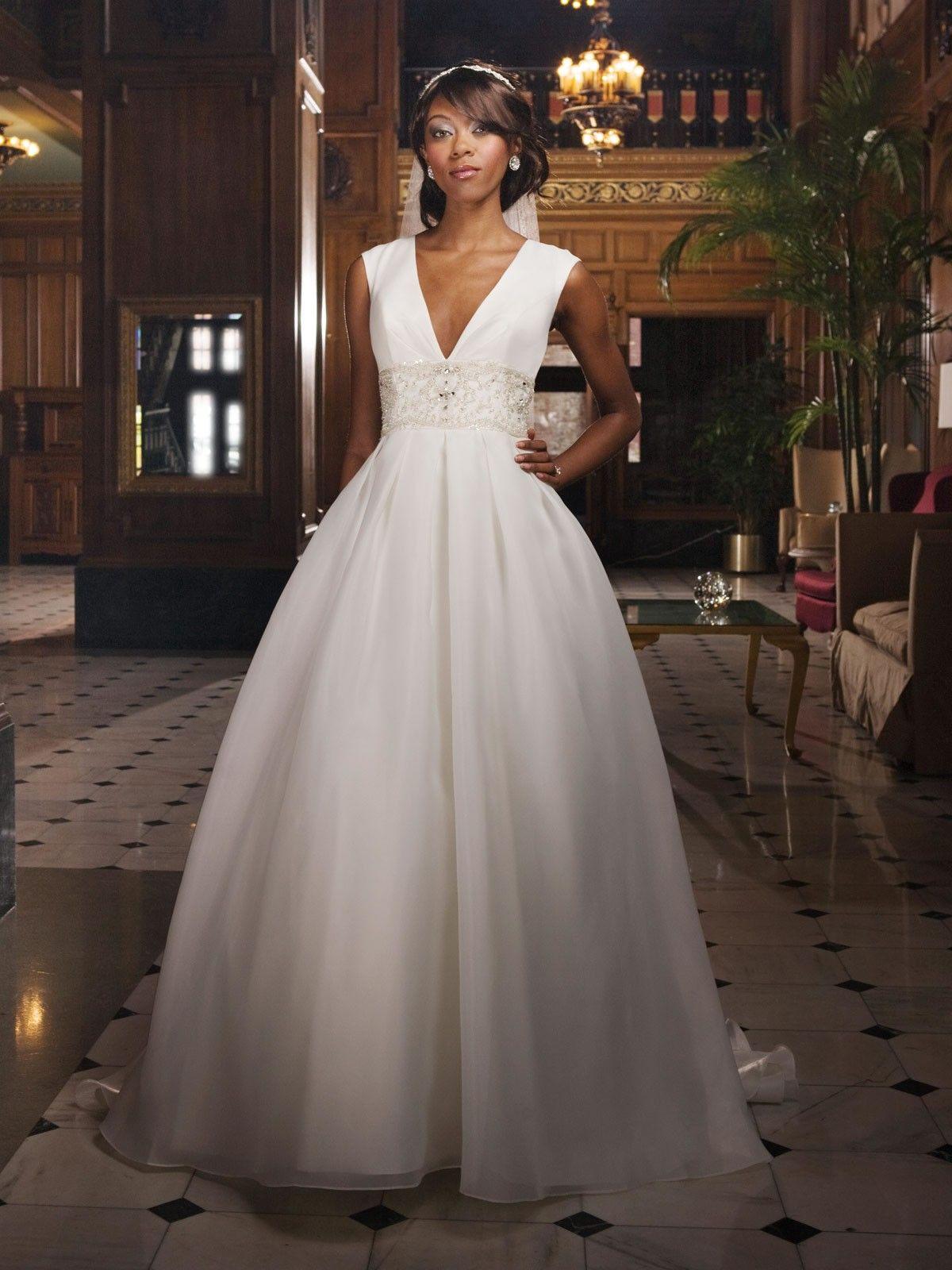 plunging neckline wedding dress Plunging Deep V Neckline Full Box Pleated Bodice Ball Gown Wedding Dress