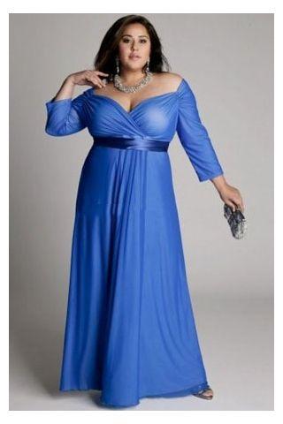 Plus Size Chiffon Column Evening Dress Holding Silky Sash | Mullis ...