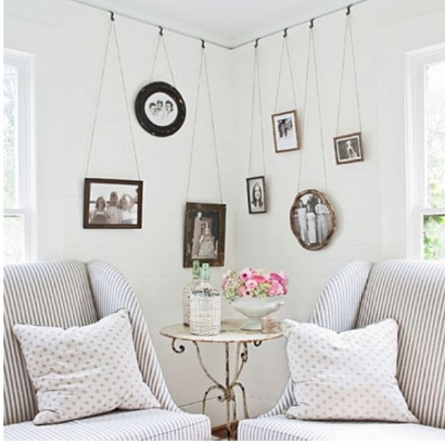 Hanging Wall Frames: Could do this upstairs. We have a picture rails ...