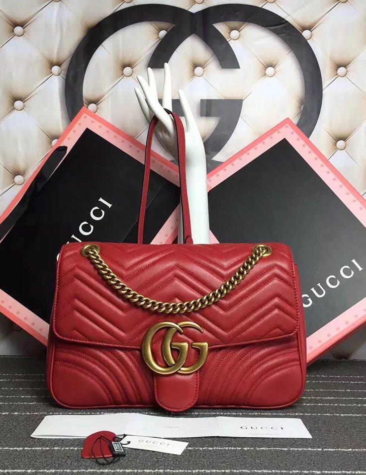 43b8f1fb60c39 Gucci Medium GG Marmont Matelasse Shoulder Bag Red. See more Gucci handbags  at https