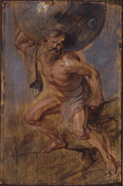 PETER PAUL RUBENS, 1577 - 1640: Atlas. Oil on canvas, 27 x 42.