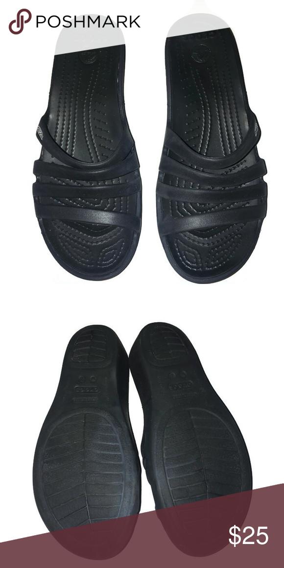 f49c9a4cf84 Crocs Rhonda Wedge Pump Black Sandal Crocs Rhonda Wedge Pump Sandal.4  straps