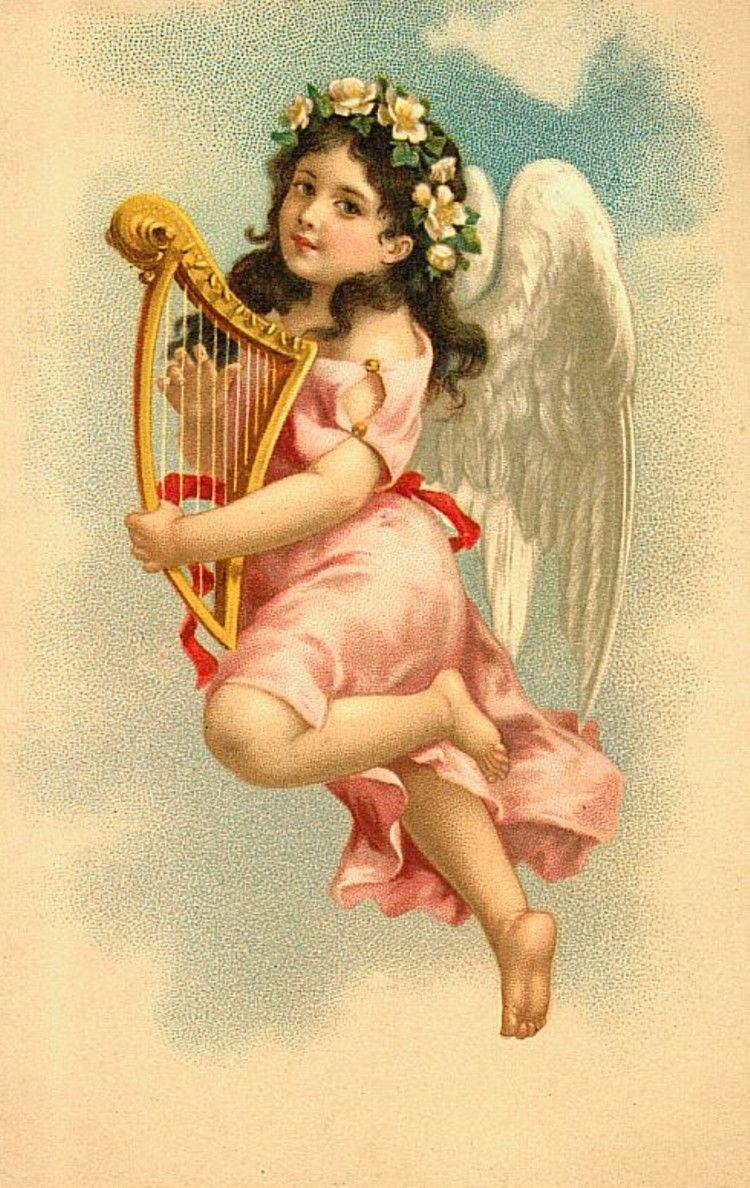 Крутые, ретро открытки с ангелочками
