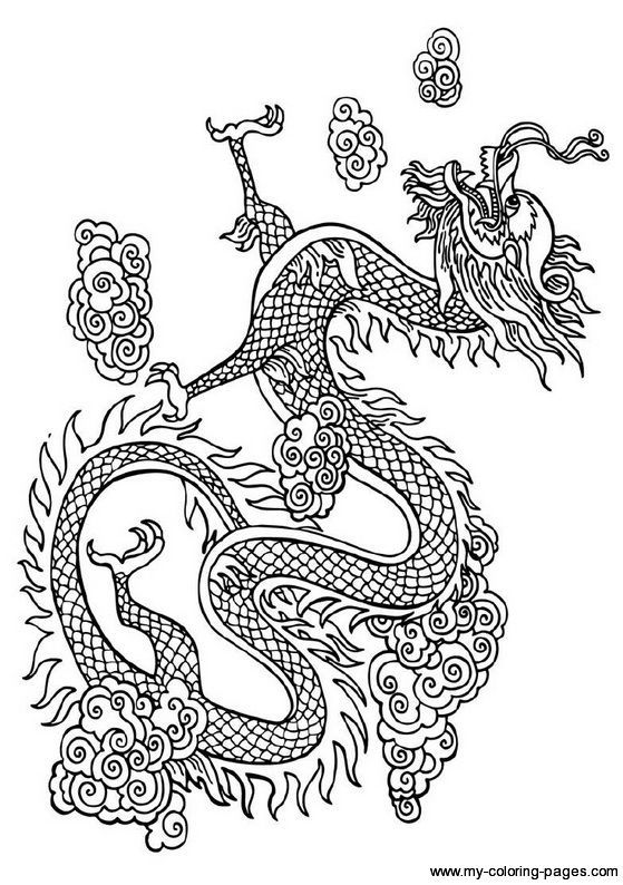 Drawn Chinese Dragon Japanese Dragon 716 Dragon Coloring Page