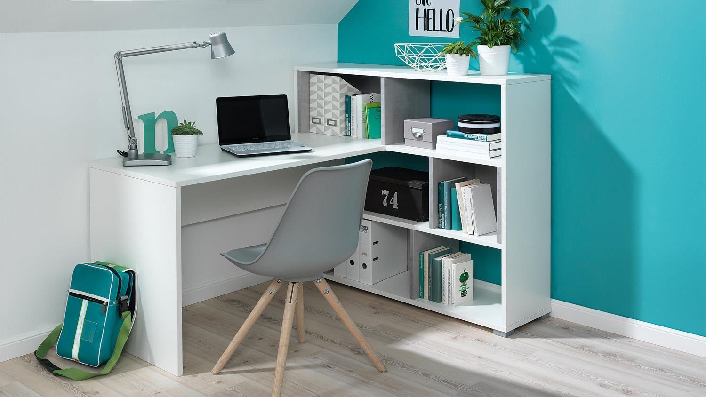 Eckschreibtisch Concrete Schreibtisch Regal In Weiss Beton Wellemobel Jugendzimmer Schreibtisch Jugendzimmer Zimmer Einrichten Jugendzimmer