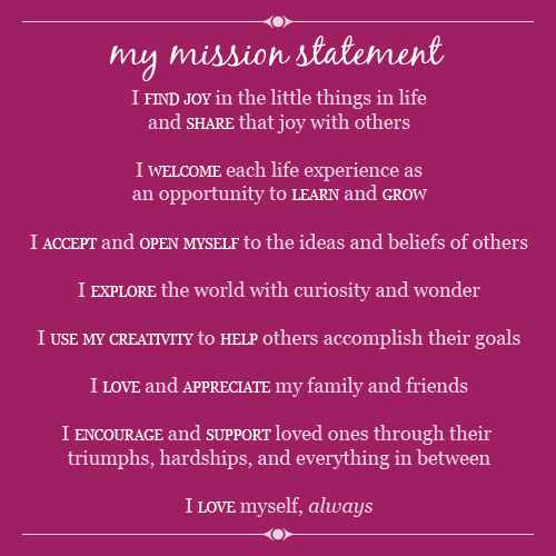 how to create a personal mission statement