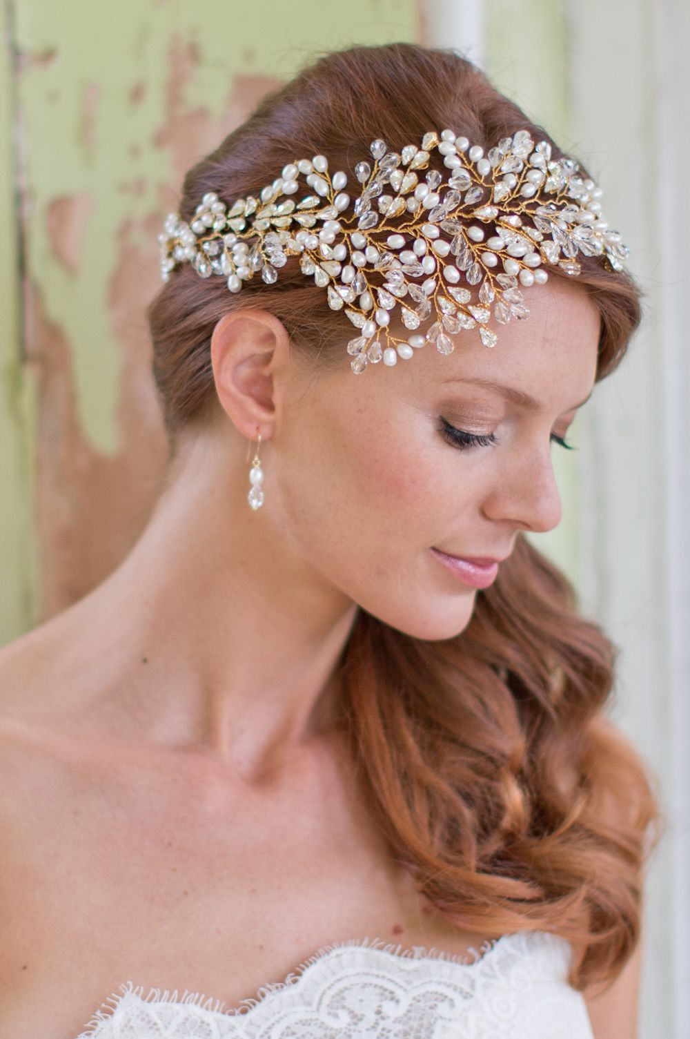 Hermione Harbutt Leafy Glamour Headdress. Pearl and Swarovski crystal leaves branch from the top of the head and sweep round to the back. Perfect with hair worn to the side. Image by Catherine Mead.