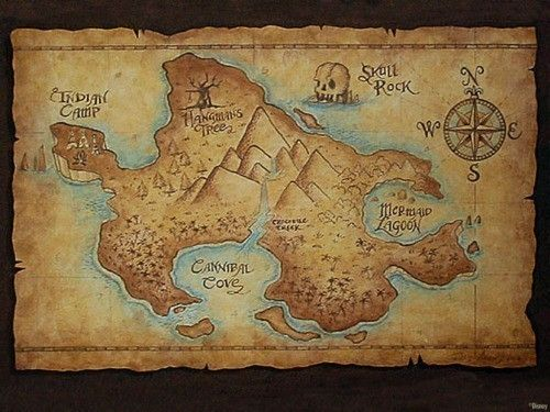 Make an ancient looking map of neverland neverland map map frame neverland map framed and hung over the crib would be perfect for the peter pan themed nursery gumiabroncs Gallery