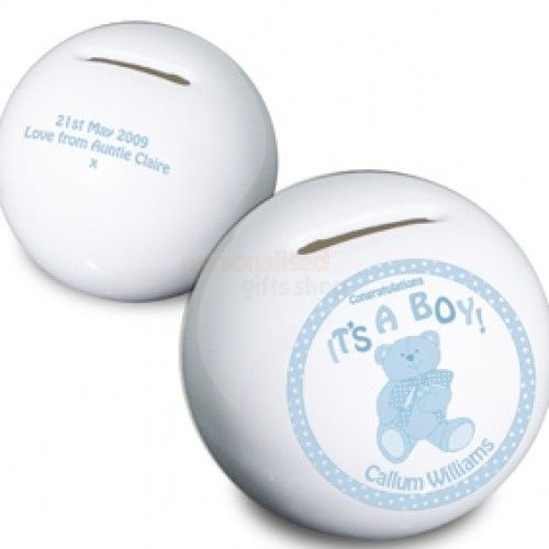 Personalised Its a Boy Teddy Money Box  from Personalised Gifts Shop - ONLY £14.95