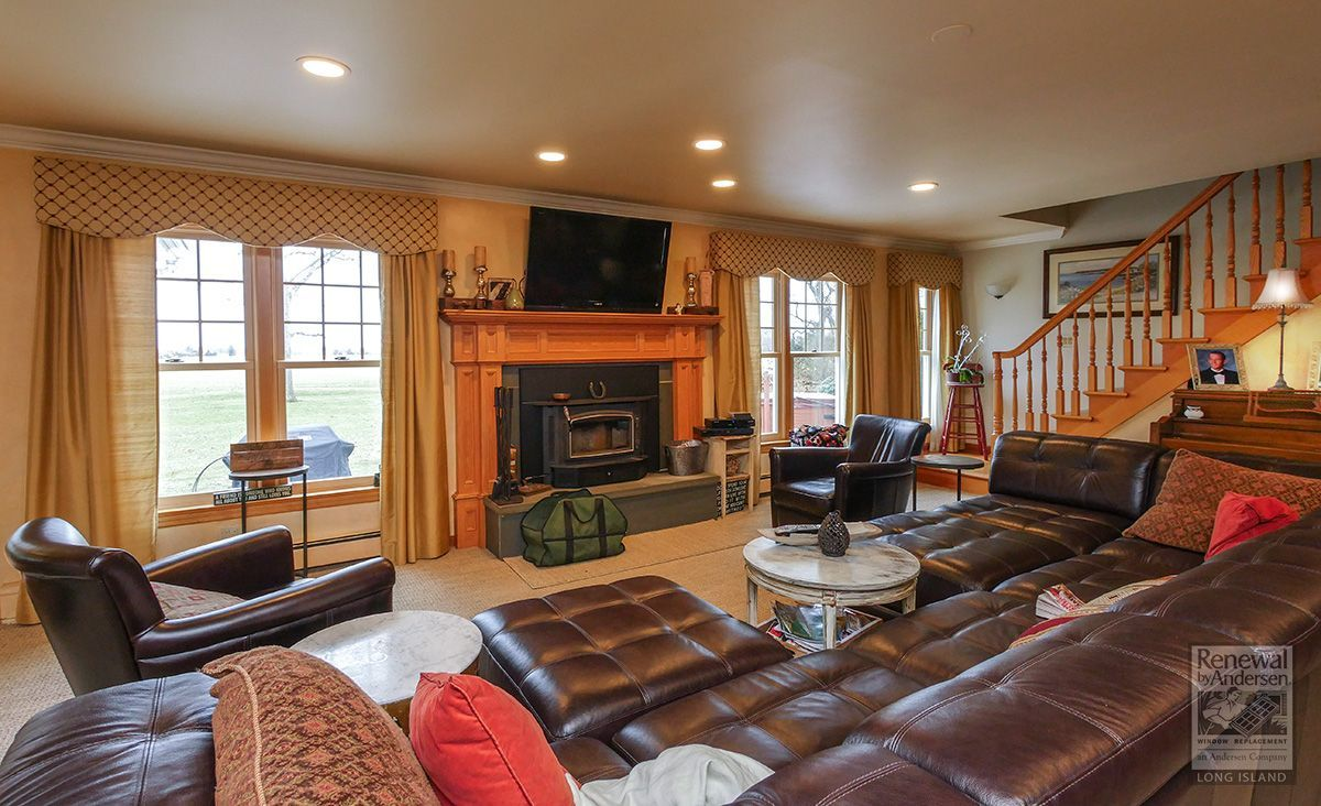 A Warm And Handsome Living Room With Newly Installed, Wood Interior, Double