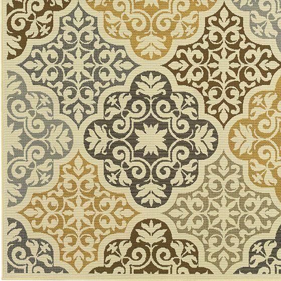 Love This Grey Taupe Yellow Pale Aqua Patterned Rug