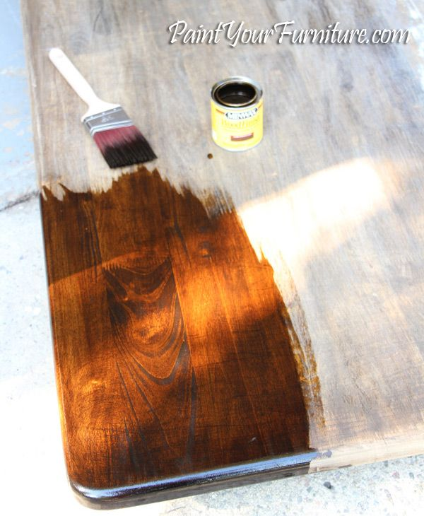 how to refinish and stain a table - sand, wood conditioner, stain