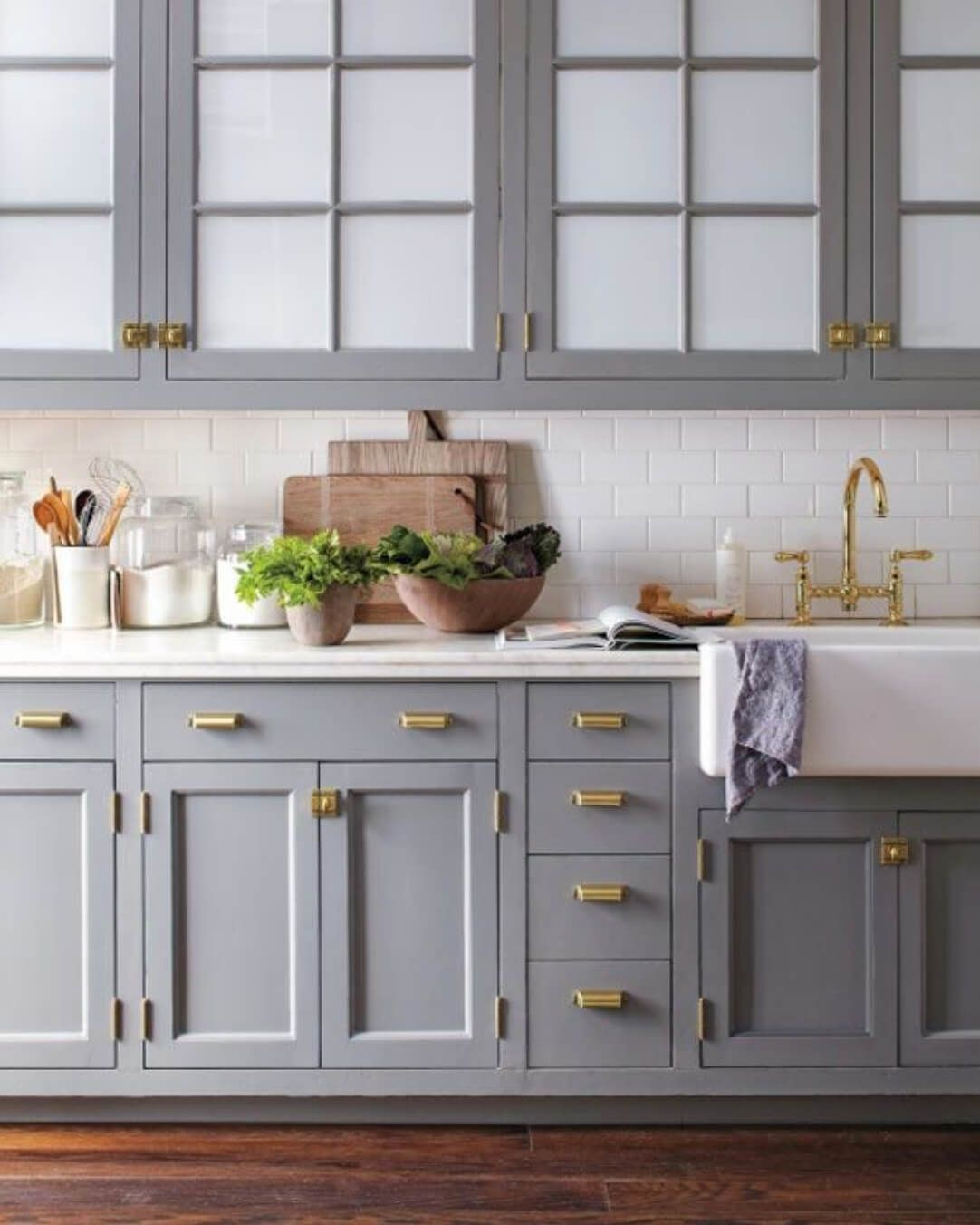 7 Unexpected Ways To Update Your Kitchen Color Palette Https Freshome Com Update Ki Blue Gray Kitchen Cabinets Kitchen Cabinet Design Grey Kitchen Cabinets