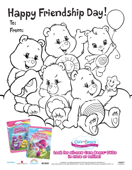 Free Printable Friendship Day Card From The Care Bears Coloring Pages Happy Friendship Day Bear Coloring Pages