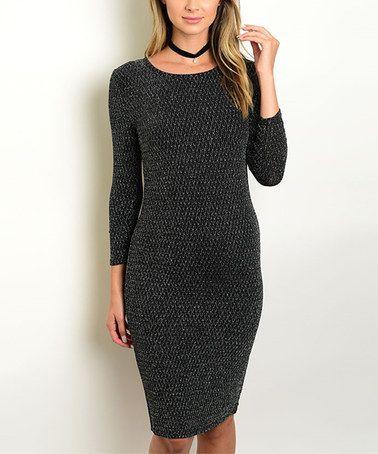 Black & Silver Long-Sleeve Bodycon Dress #zulily #zulilyfinds