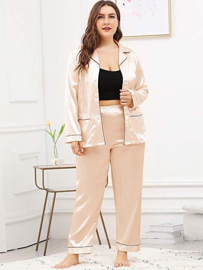 49f920ff47 Shein Plus Contrast Binding Button Up Pajama Set  Binding Contrast Shein
