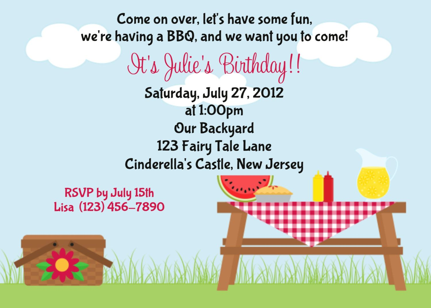 summer picnic invitations