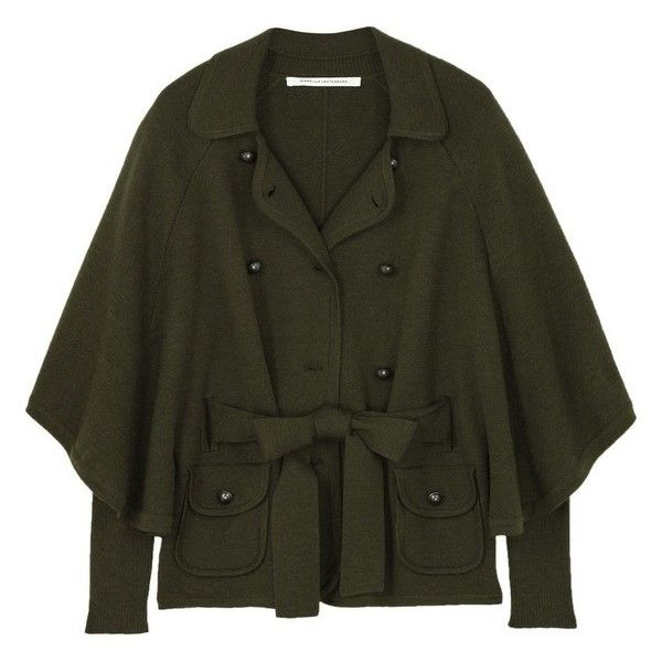 Diane von Furstenberg Wool cape jacket ❤ liked on Polyvore