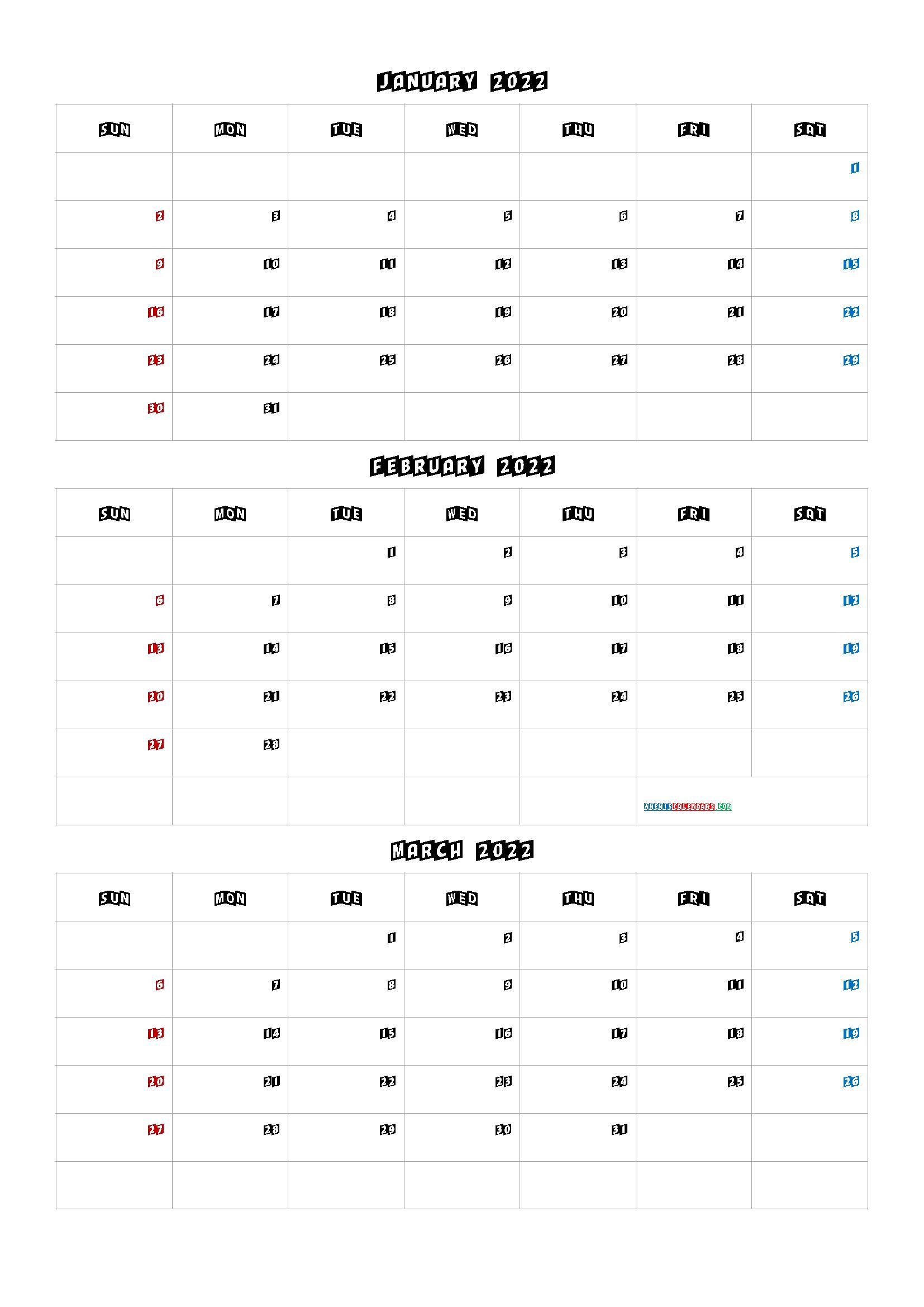 Free January February March 2022 Calendar [Q1 Q2 Q3 Q4] | January