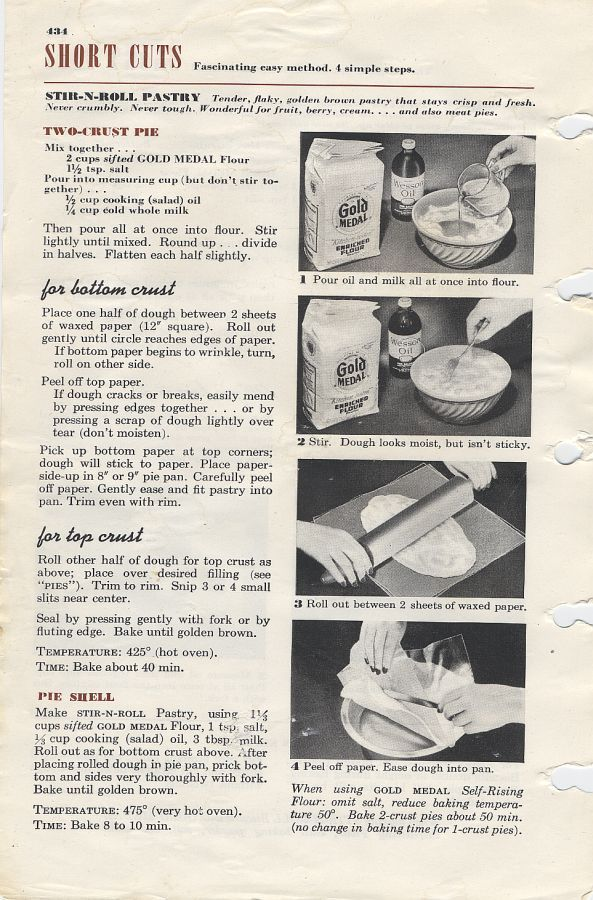 Stir And Roll Pie Crust Betty Crocker 1956 Pie Crust Oil Pie Crust Pie Crust Recipes