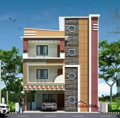 Front elevation designs for duplex houses in india for Normal house front design