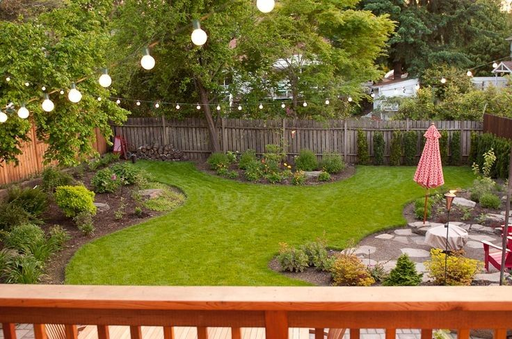 This Is A Backyard That Is Simple But Nicely Landscaped With A