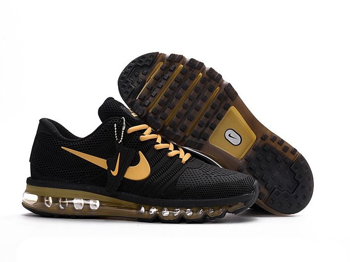new style Nike Air Max 2017 Men Shoes Black Yellow Gold