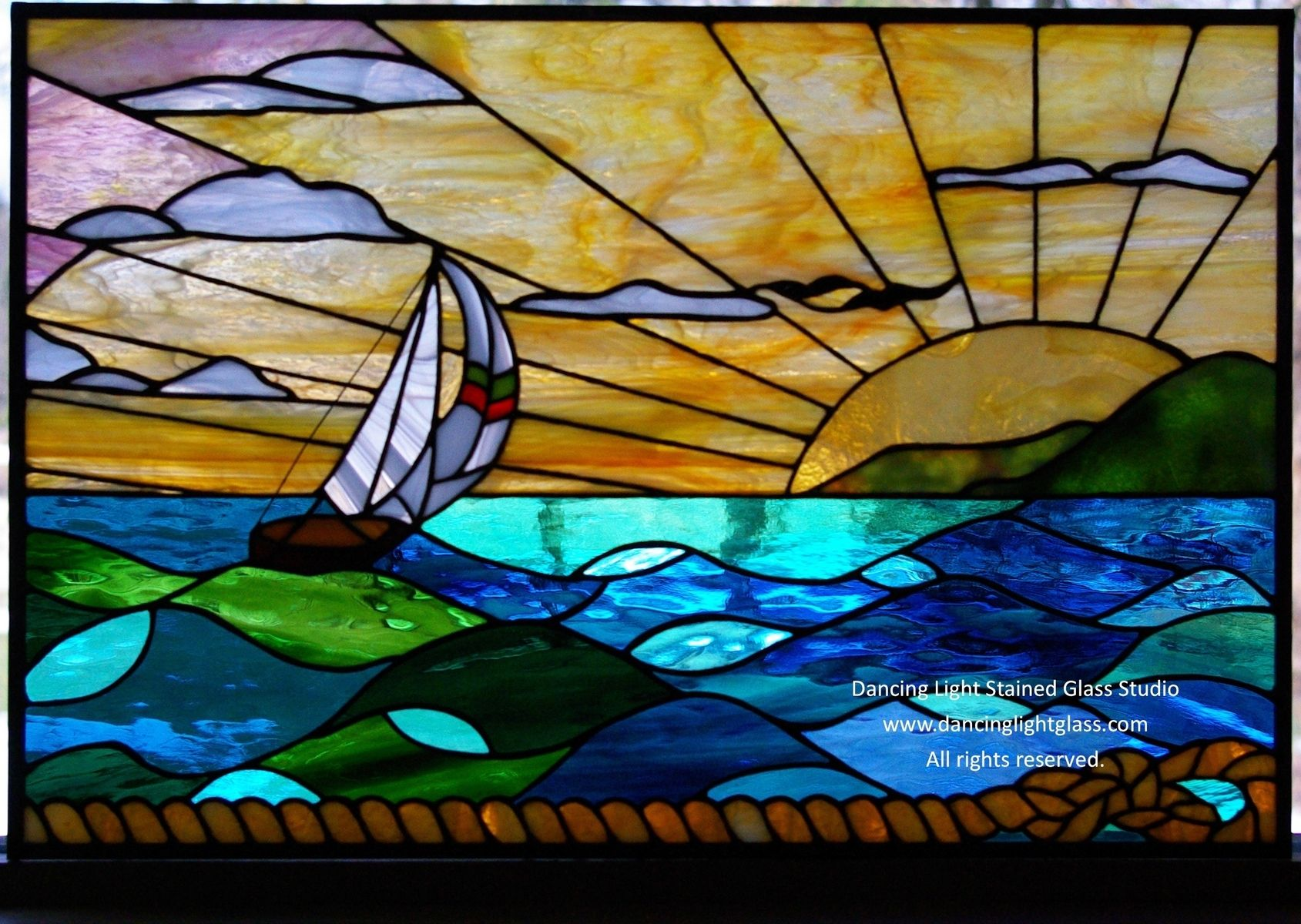 Custom Made Stained Glass Ocean Scene | Stained & Fused ...