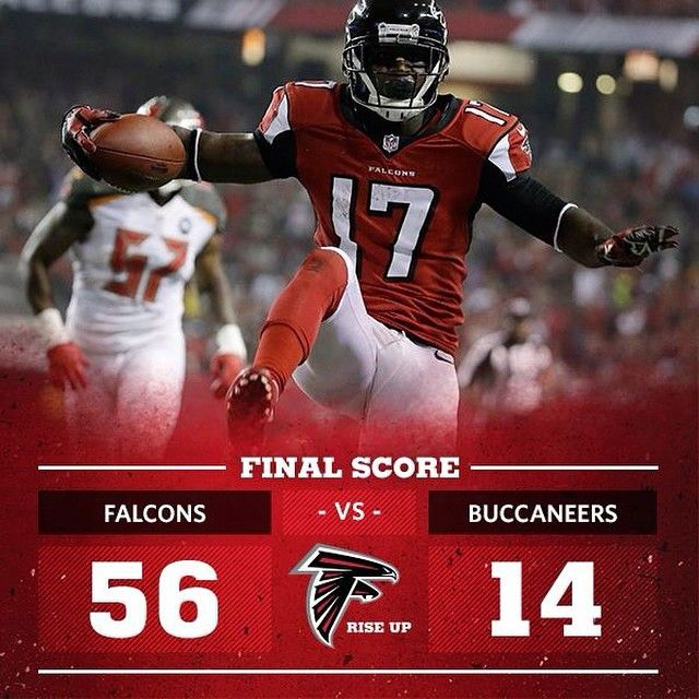 What A Game Falcons Win 56 14 Over The Tampa Bay Buccaneers Riseup Tnf Atlanta Falcons Football Atlanta Falcons Atlanta Falcons Fans