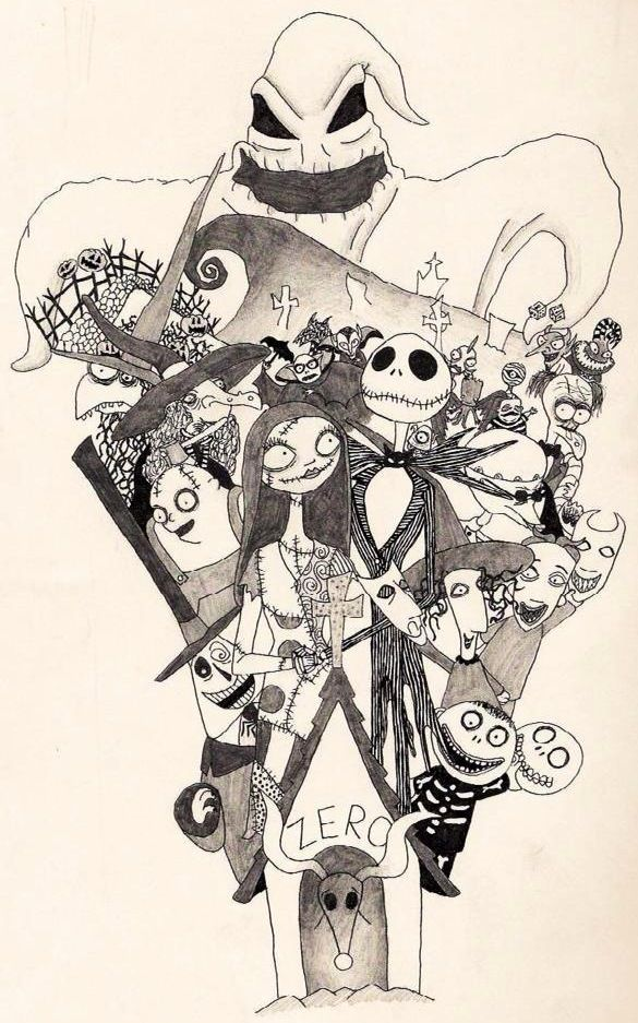 Nightmare Before Christmas Illustration.A Nightmare Before Christmas Characters Illustration Via
