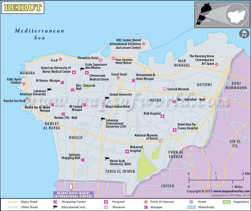 beirut map map of beirut city lebanon pinterest beirut