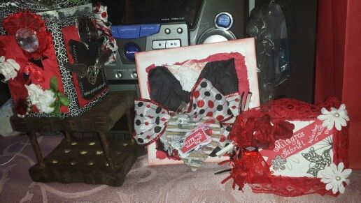 Mini album, card and altered tin can
