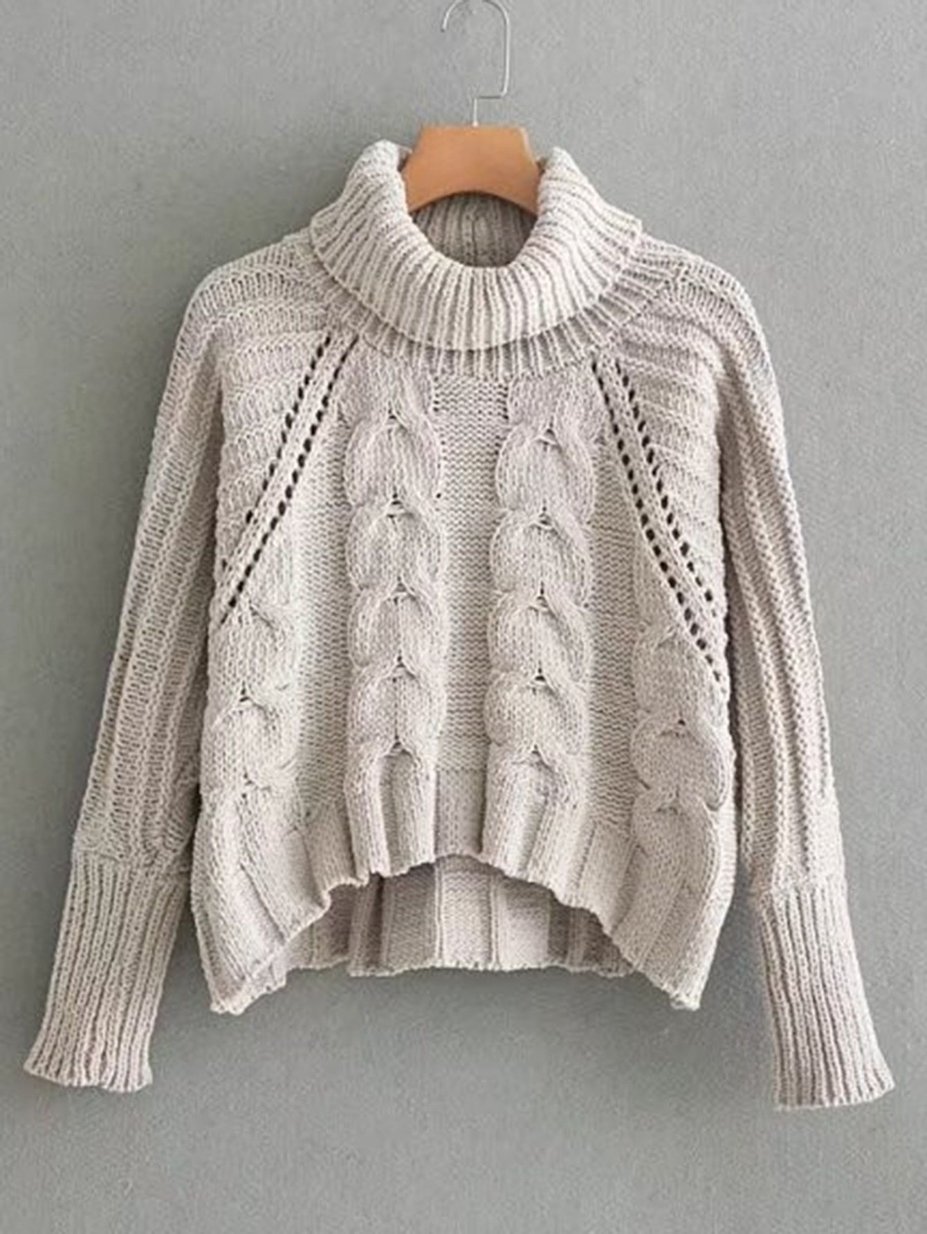 c73a8a81f4 Pointelle Detail Turtleneck Cable Knit Sweater -SheIn(Sheinside ...
