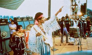 Jimi Hendrix playing at Woodstock, 1969