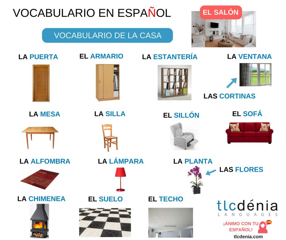 Vocabulario De La Casa Los Muebles Del Salón ánimo Con Tu Español Español Ele Spanish Spain Spanish Furniture Spanish Vocabulary Learning Spanish