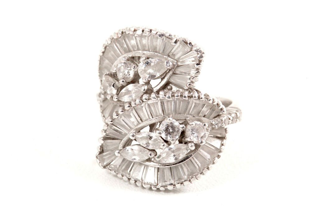 Designer Signed Fuzion Ornate Sterling Silver Cocktail Ring Size 7