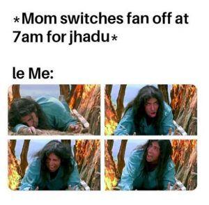 Mom Swiching Off Fan In The Morning