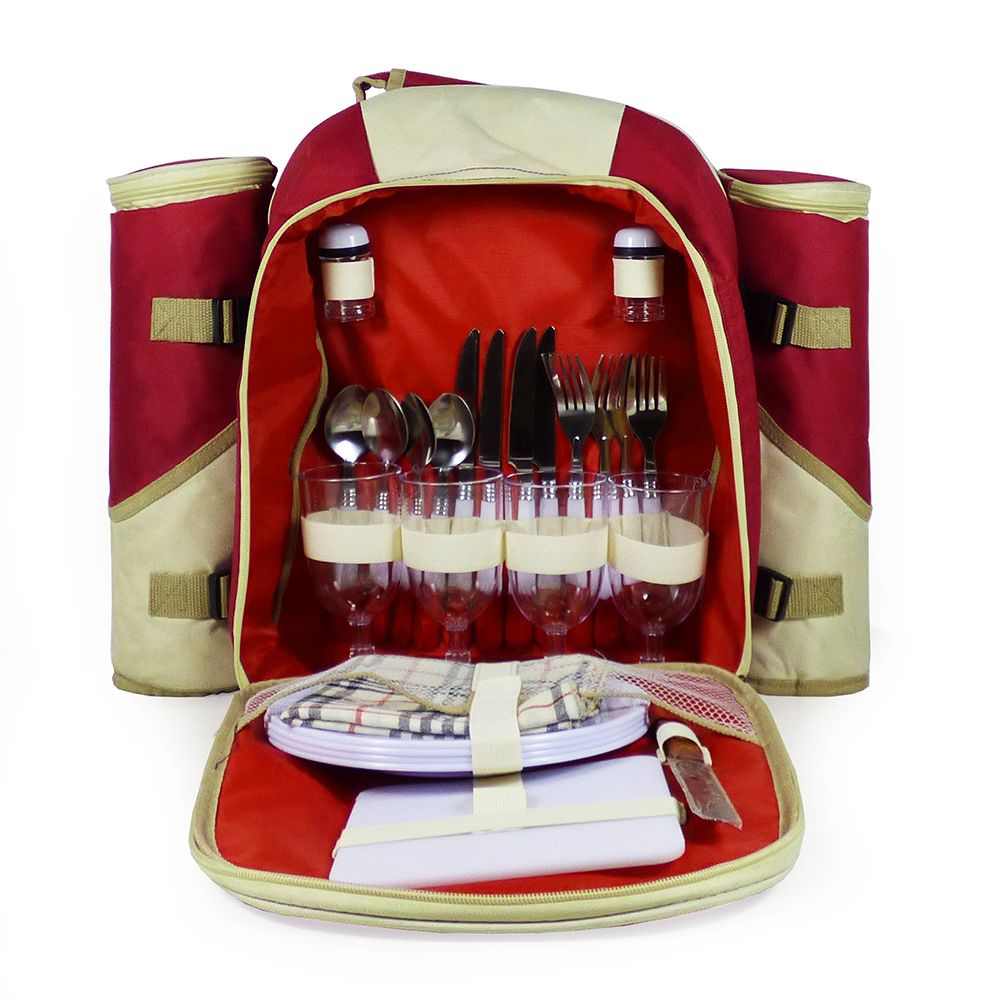 4 Person Burgundy Picnic Rucksack With Accessories Picnic Hamper Red Rucksack Picnic