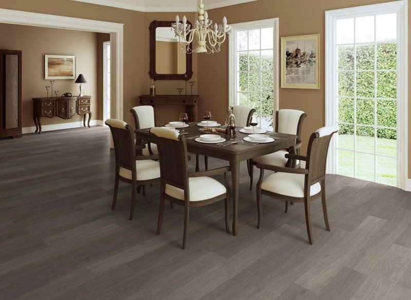 Greg tile floor and tan walls with dark brown wood for Dining room tile floor designs