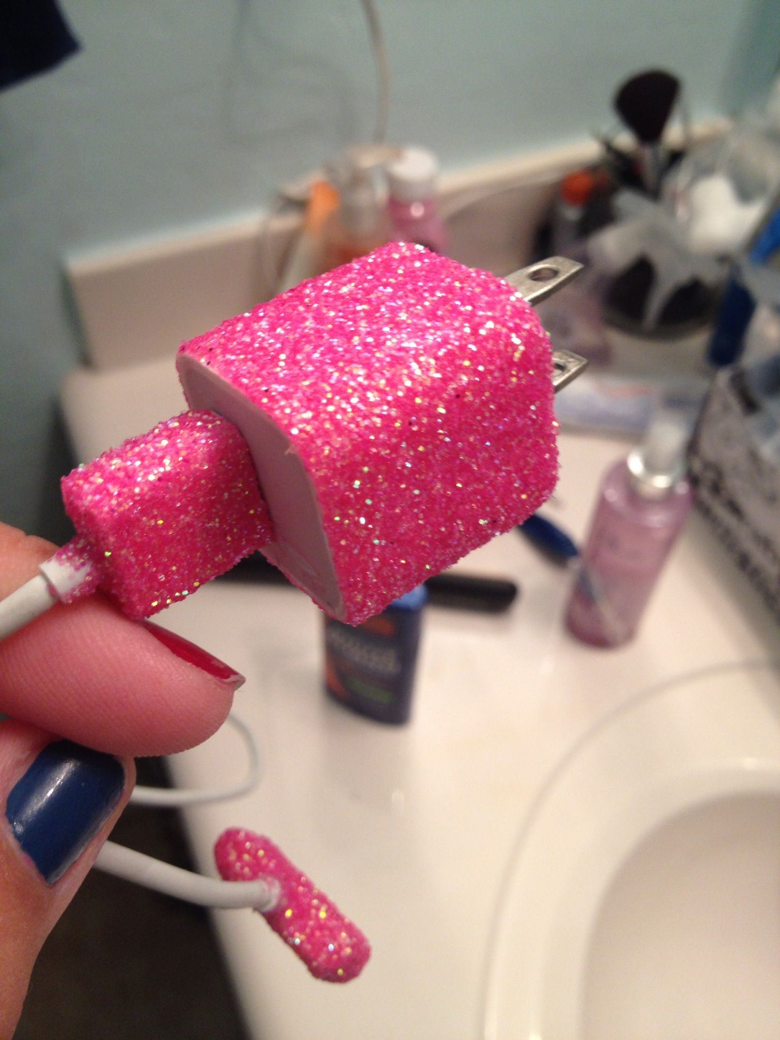 Glittered iPhone charger. All you need is modge podge and