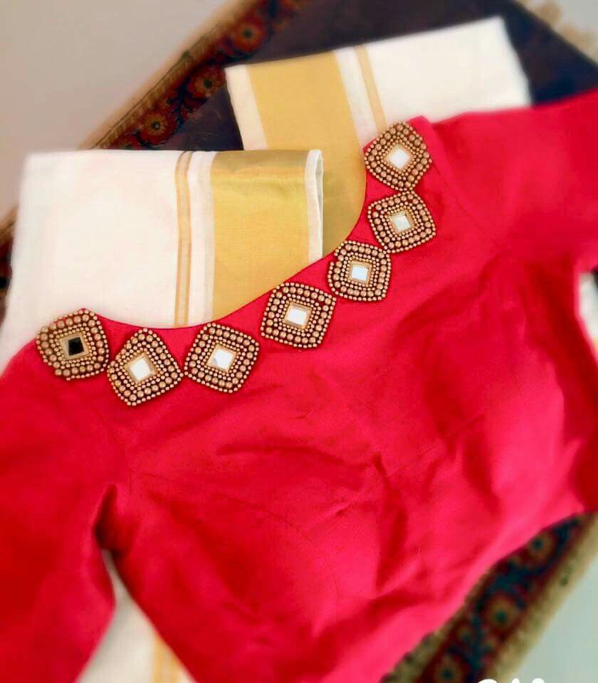 Lehenga blouse design in golden color and mirror work - Diamond Shaped Mirror Work On Blouse More