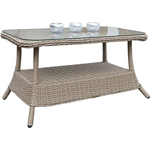 Affordable Banbury York Pecan Outdoor All Weather Rattan Garden Glass  Topped Coffee Table With Gartentisch 110x70